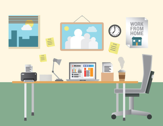 Working from home vector with desk and office equipment